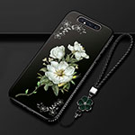 Silicone Candy Rubber Gel Flowers Soft Case Cover S06 for Samsung Galaxy A80 Black