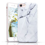 Silicone Candy Rubber Marble Pattern Soft Case for Apple iPhone SE (2020) White