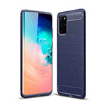 Silicone Candy Rubber TPU Line Soft Case Cover S02 for Samsung Galaxy S20 Plus 5G Blue