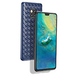 Silicone Candy Rubber TPU Twill Soft Case B02 for Huawei Mate 20 Pro Blue