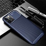 Silicone Candy Rubber TPU Twill Soft Case Cover for Apple iPhone 12 Pro Blue