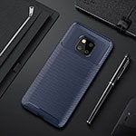 Silicone Candy Rubber TPU Twill Soft Case Cover S01 for Huawei Mate 20 Pro Blue