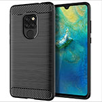 Silicone Candy Rubber TPU Twill Soft Case Cover S02 for Huawei Mate 20 Black