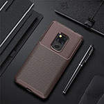 Silicone Candy Rubber TPU Twill Soft Case Cover Y01 for Huawei Mate 20 Brown