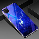 Silicone Frame Fashionable Pattern Mirror Case Cover for Huawei P40 Lite Blue