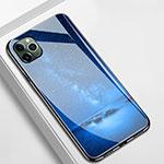 Silicone Frame Fashionable Pattern Mirror Case Cover M01 for Apple iPhone 11 Pro Blue