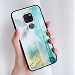 Silicone Frame Fashionable Pattern Mirror Case S01 for Huawei Mate 20 Blue