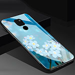 Silicone Frame Flowers Mirror Case Cover for Huawei Mate 20 Blue