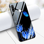 Silicone Frame Flowers Mirror Case M02 for Huawei P30 Lite Blue