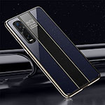 Silicone Frame Mirror Case Cover T01 for Oppo Find X2 Pro Blue