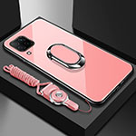 Silicone Frame Mirror Case Cover with Magnetic Finger Ring Stand for Huawei P40 Lite Rose Gold