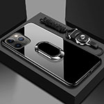 Silicone Frame Mirror Case Cover with Magnetic Finger Ring Stand T01 for Apple iPhone 11 Pro Black