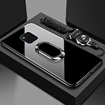 Silicone Frame Mirror Case Cover with Magnetic Finger Ring Stand T01 for Huawei Mate 20 Pro Black