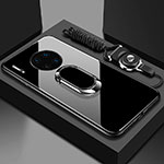 Silicone Frame Mirror Case Cover with Magnetic Finger Ring Stand T01 for Huawei Mate 30 Pro 5G Black