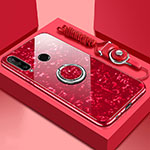Silicone Frame Mirror Case Cover with Magnetic Finger Ring Stand T01 for Huawei P30 Lite Red