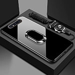 Silicone Frame Mirror Case Cover with Magnetic Finger Ring Stand T01 for Samsung Galaxy A80 Black