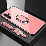Silicone Frame Mirror Case Cover with Magnetic Finger Ring Stand T01 for Samsung Galaxy Note 10 Plus 5G Pink