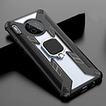 Silicone Frame Mirror Case Cover with Magnetic Finger Ring Stand T02 for Huawei Mate 30 Pro 5G Black