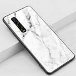 Silicone Frame Mirror Case Cover Z01 for Oppo Find X2 Pro White