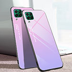 Silicone Frame Mirror Rainbow Gradient Case Cover for Huawei P40 Lite Purple