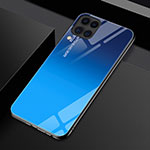Silicone Frame Mirror Rainbow Gradient Case Cover H01 for Huawei P40 Lite Blue