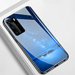 Silicone Frame Starry Sky Mirror Case Cover S01 for Huawei P40 Pro Blue