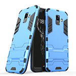 Silicone Matte Finish and Plastic Back Case with Stand for Samsung Galaxy A6 (2018) Dual SIM Blue