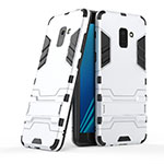 Silicone Matte Finish and Plastic Back Case with Stand for Samsung Galaxy A8+ A8 Plus (2018) A730F White