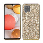 Silicone Matte Finish and Plastic Back Cover Case 360 Degrees Bling-Bling for Samsung Galaxy A42 5G Gold