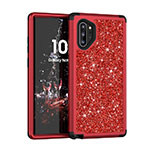Silicone Matte Finish and Plastic Back Cover Case 360 Degrees Bling-Bling for Samsung Galaxy Note 10 Plus 5G Red