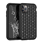 Silicone Matte Finish and Plastic Back Cover Case 360 Degrees Bling-Bling U01 for Apple iPhone 11 Pro Max Black