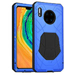 Silicone Matte Finish and Plastic Back Cover Case 360 Degrees R01 for Huawei Mate 30 Pro 5G Blue