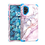 Silicone Matte Finish and Plastic Back Cover Case 360 Degrees U01 for Samsung Galaxy Note 10 Plus 5G Blue