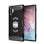 Silicone Matte Finish and Plastic Back Cover Case Magnetic for Samsung Galaxy Note 10 Plus 5G Black
