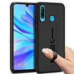 Silicone Matte Finish and Plastic Back Cover Case with Finger Ring Stand S04 for Huawei P30 Lite Black