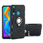 Silicone Matte Finish and Plastic Back Cover Case with Magnetic Finger Ring Stand A01 for Huawei P30 Lite Black