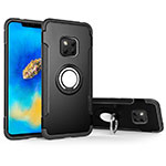 Silicone Matte Finish and Plastic Back Cover Case with Magnetic Finger Ring Stand for Huawei Mate 20 Pro Black