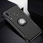 Silicone Matte Finish and Plastic Back Cover Case with Magnetic Finger Ring Stand for Huawei P30 Lite Black
