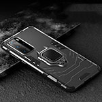 Silicone Matte Finish and Plastic Back Cover Case with Magnetic Finger Ring Stand for Huawei P40 Pro Black