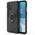 Silicone Matte Finish and Plastic Back Cover Case with Magnetic Finger Ring Stand for OnePlus 8T 5G Black