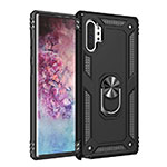 Silicone Matte Finish and Plastic Back Cover Case with Magnetic Finger Ring Stand for Samsung Galaxy Note 10 Plus 5G Black