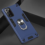 Silicone Matte Finish and Plastic Back Cover Case with Magnetic Finger Ring Stand for Samsung Galaxy Note 20 Ultra 5G Blue
