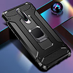 Silicone Matte Finish and Plastic Back Cover Case with Magnetic Finger Ring Stand for Xiaomi Redmi K30 5G Black