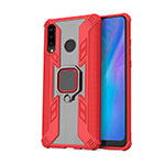 Silicone Matte Finish and Plastic Back Cover Case with Magnetic Finger Ring Stand R01 for Huawei P30 Lite Red