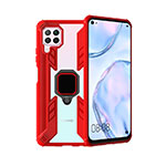 Silicone Matte Finish and Plastic Back Cover Case with Magnetic Finger Ring Stand R01 for Huawei P40 Lite Red