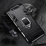 Silicone Matte Finish and Plastic Back Cover Case with Magnetic Finger Ring Stand R01 for Samsung Galaxy A80 Black