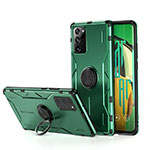 Silicone Matte Finish and Plastic Back Cover Case with Magnetic Finger Ring Stand R01 for Samsung Galaxy Note 20 Ultra 5G Green