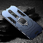 Silicone Matte Finish and Plastic Back Cover Case with Magnetic Finger Ring Stand R01 for Xiaomi Mi 9T Pro Blue