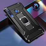 Silicone Matte Finish and Plastic Back Cover Case with Magnetic Finger Ring Stand R02 for Huawei P30 Lite Black