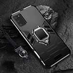 Silicone Matte Finish and Plastic Back Cover Case with Magnetic Finger Ring Stand R02 for Samsung Galaxy S20 5G Black